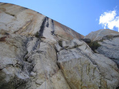 Rock Climbing Photo: Linking pitch 1 into the beautiful black streak ab...