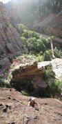 Rock Climbing Photo: Dan Dalton following P3 of the Bulge.