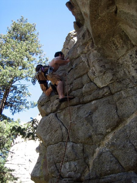 Rock Climbing Photo: Stephen Sandstrom climbing the crux of Unfamiliar ...