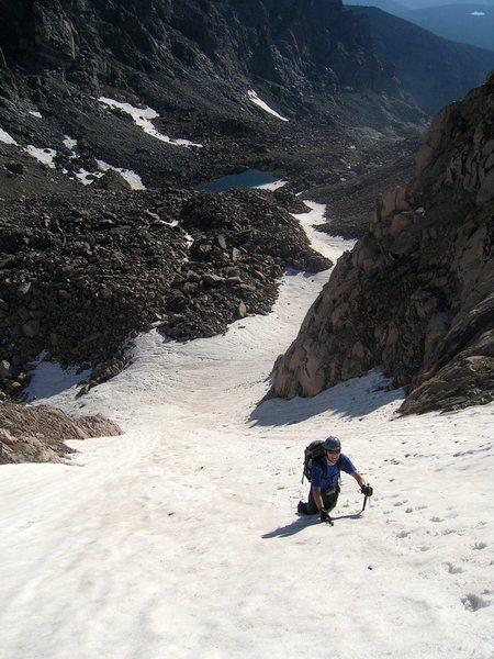 Rock Climbing Photo: Matt Gates climbing Tyndall Gully.