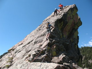 Rock Climbing Photo: Climbing up the First Flatiron early in the mornin...