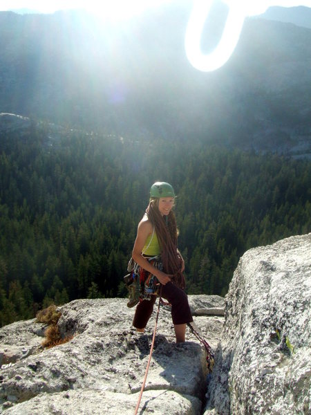 Yosemite-- at the top of the last pitch-- yay!! Photo by David (who is crazy enough to follow me... thanks David!!!!)