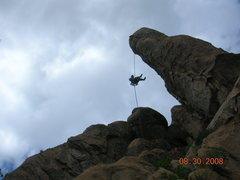 Rock Climbing Photo: Josh on the hanging rappel off the back of nightst...
