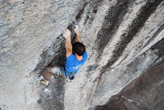 Rock Climbing Photo: Jay Conway at the end of the crux on Cecile.
