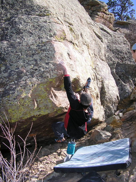 Rock Climbing Photo: Getting situated on the SW Arete.