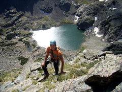 Rock Climbing Photo: Jordon Griffler at the big ledge after 400' + of s...
