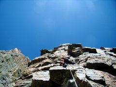 Rock Climbing Photo: Jordon Griffler leading the crux pitch 5.10 a of t...