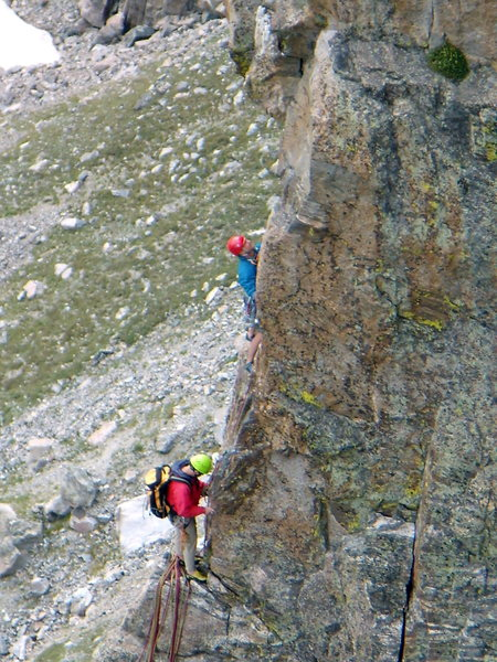 Two climbers nearing the summit ridge on the Petit Grepon.  Photo taken from the Southwest Corner of the Saber. Sunday August 31st.  2008.