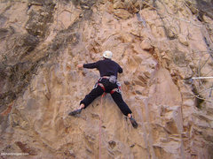 Rock Climbing Photo: At clip 3 on a cold April morning.