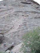 Rock Climbing Photo: John leading unknown route between Cheryl's Peril ...