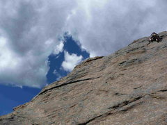 Rock Climbing Photo: T-Rect runs up and along the slight right- and upw...