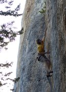 Rock Climbing Photo: reaching for the peanut shaped pocket at the 6th b...