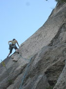 Rock Climbing Photo: A couple moves up into the Beast Flake. I protecte...