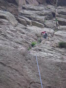 Rock Climbing Photo: Brandon squirming up the 4th class gully.