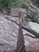 Rock Climbing Photo: Old high wire remains on top of Wind Tower.