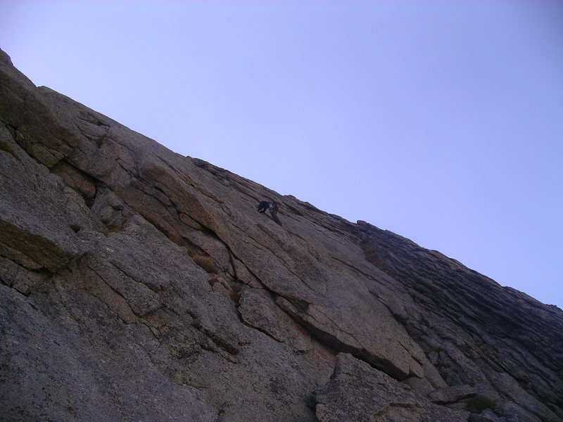 Shawn leading, somewhere on the upper portion of the climb.