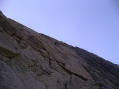 Rock Climbing Photo: Shawn leading, somewhere on the upper portion of t...