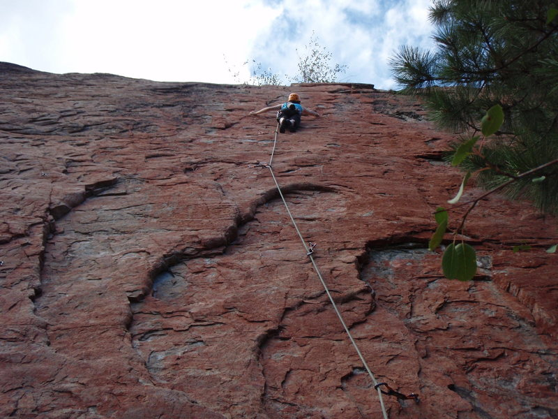 Rock Climbing Photo: Elaine leading Morning Thief.