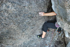 Rock Climbing Photo: Kayte Knower decides to chimney the layback part a...