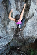 Rock Climbing Photo: Kayte climbing the lower half of the route.