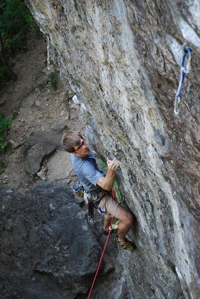 Rock Climbing Photo: Tim starts up the arete.