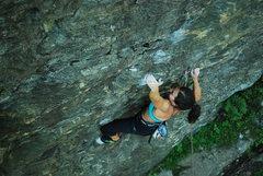 Rock Climbing Photo: Bad crimps for Kayte, as she climbs through the cr...