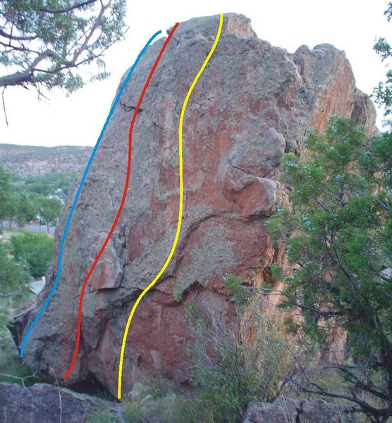 Shibby Boulder problems.<br> Blue = Chinese Food Mind Games<br> Red = We're Not Guys, We're Hot Chicks<br> Yellow = And Theeeeeeeen?