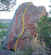 Rock Climbing Photo: Shibby Boulder problems. Blue = Chinese Food Mind ...