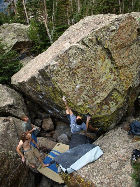 Rock Climbing Photo: Colin reaches from the good hold.  (photo credit: ...