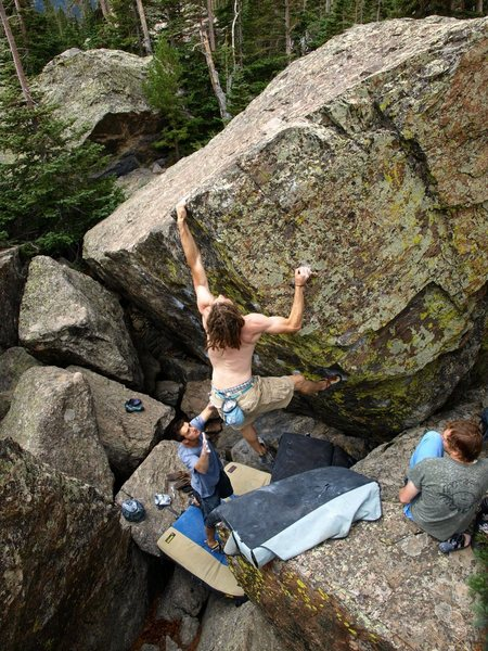 Rock Climbing Photo: Grabbing the lip, NOT thinking about the landing.