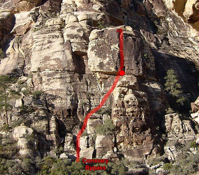 Rock Climbing Photo: The line of Coronary Bypass with the belay positio...