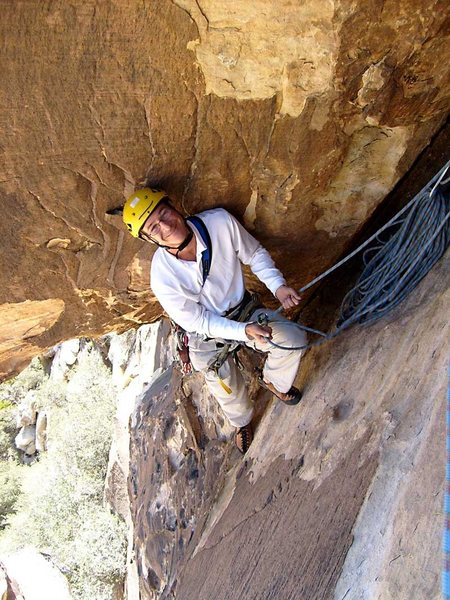 Rock Climbing Photo: The belay position on Coronary Bypass.
