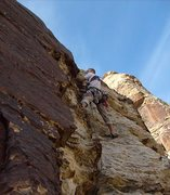 Rock Climbing Photo: Just above the overhang on the first pitch.