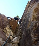 Rock Climbing Photo: The opening overhang on pitch 3.