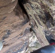Rock Climbing Photo: Looking down the varnished corner high on the rout...