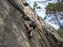 Rock Climbing Photo: Myself on the finger crack at the bottom of Mandri...