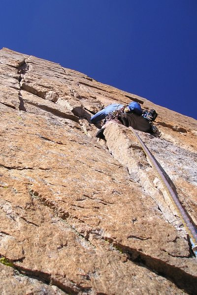 Paul Glover on the Pervertical crux.