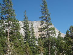 Rock Climbing Photo: The route is clearly seen between the trees.
