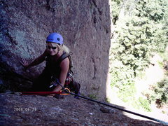 Rock Climbing Photo: Nancy topping out the first pitch.