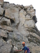 Rock Climbing Photo: Queen's Reiche crack is directly above Brian's hea...