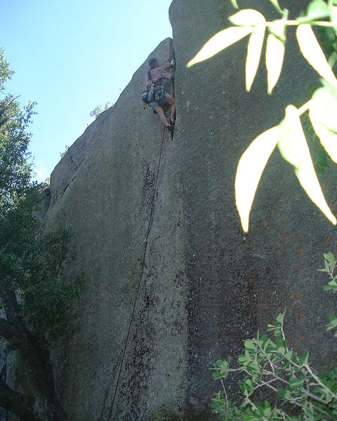 JC climbing Mirage on a hot summer day. Photo: Jeff Gilbert.