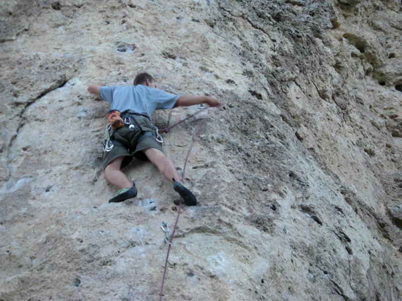 Rock Climbing Photo: Clipping a bolt!