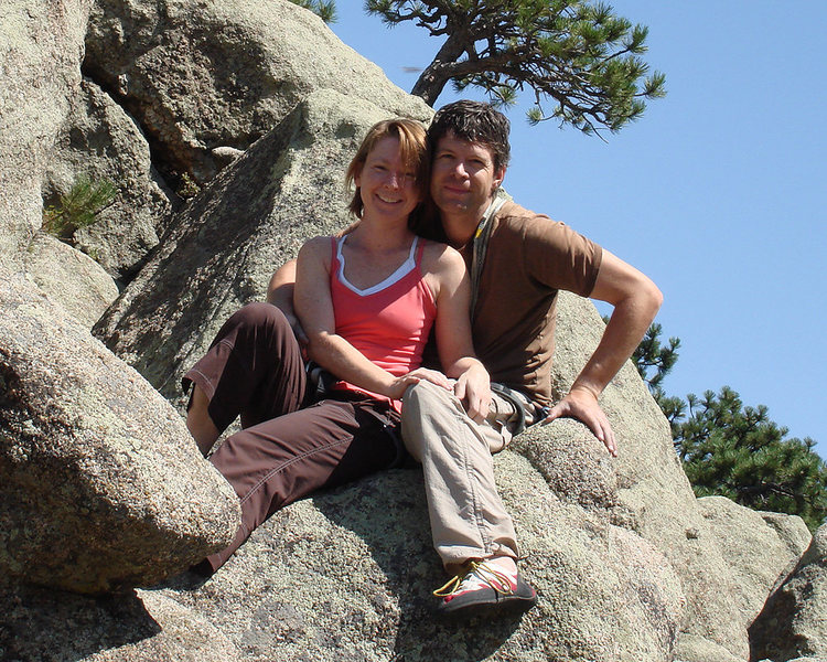 Rock Climbing Photo: Nicole and Steve at the top of the Dome.