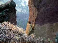 Rock Climbing Photo: Me leading the bolt ladder (aid) 5.12 something or...