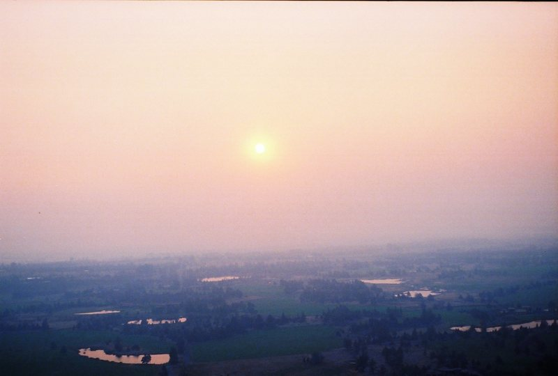 Sunset through the smoke of the black butte fires