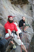 Rock Climbing Photo: My sister Sarah and I on The North Face, Broughton...