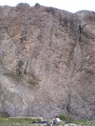 Rock Climbing Photo: This is the east wall with the obvious crack on th...