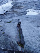 Rock Climbing Photo: Allen Sanderson following the 5.10+ pitch encounte...