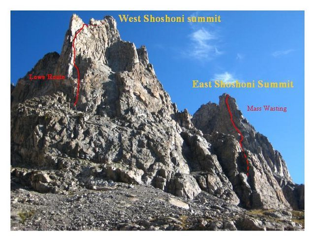 The twin towers of Shoshoni w/ Mass Wasting to the right 9-1-08.
