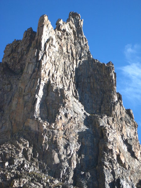 South Buttress of Shoshoni Peak, from the trail above Isabelle Lake, but still below Isabelle Glacier.